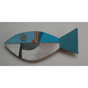 Blue white fish with orange flash